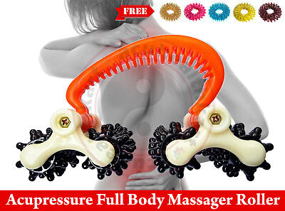Acupressure 4 Car Wheels Body Pain Reliever Roller Massager + 5 Sujok Rings