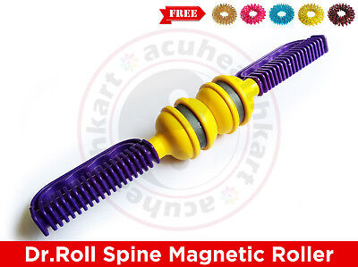 Dr Roll Spine Acupressure Magnetic Back Pain Relief Massager Roller + Rings