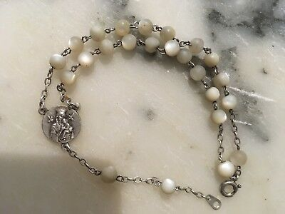 Antique 1880 Mother Of Pearl Beads Silver Rosary, Virgin Mary Medal BRACELET