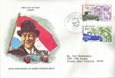 Gabon - 100th Birth Anniversary of Andre Citroen (FDC) 1978