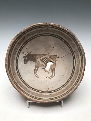 Ancient Mimbres Figural Deer Bowl Black on White (950 AD) Great Art!