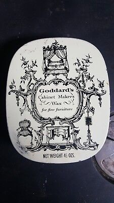 Goddards Cabinet Makers Wax  Furniture Vintage England Tin Can w/ wax
