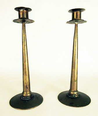 """Pair (2) Arts and Crafts Antique Brass Candle Sticks 10 1/4"""" Heavy"""