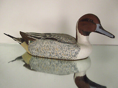 Antique Hand Carved Painted Duck Decoy Glass Eyes Male Pintail signed Bob Wert