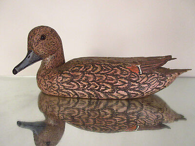 Antique Hand Carved Painted Duck Decoy Glass Eyes Female Pintail Signed Bob Wert