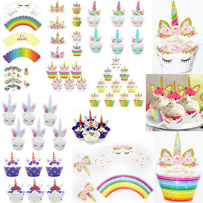 Unicorn Cup Cake Muffin Cupcake Wrappers Cases Toppers Birthday Party Decor XMAS