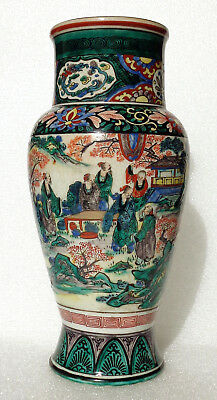 Unusual old Chinese style porcelain Famille Verte craquelé vase (Japan?)