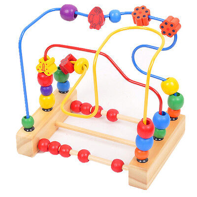 Worth Kids Baby Colorful Wooden Mini Around Beads Educational Game Toy Gift YJ