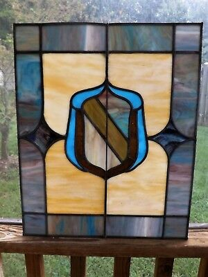 Antique Vintage Leaded Stained Glass Window Slag  Salvage Shield Heraldic 1900