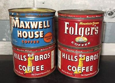 Lot of 4 Vintage 1 LB COFFEE Tin Cans w/ Lids Hills Bros Maxwell House Folger's