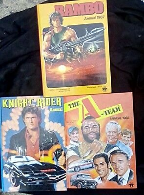 Rambo 1987  Knightrider 1982 and A TEAM 1988, Annuals ( excellent condition )