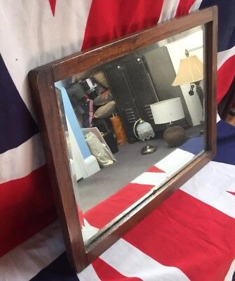 Sml Antique Distressed Bevelled Glass Mirror In Wooden Frame. Original Condition