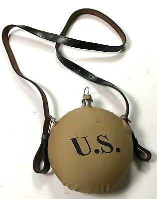 Pre Wwi Us Spanish American War M1878 Canteen And Leather Carry Strap