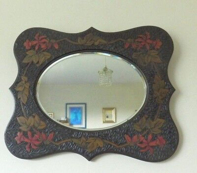 Beautiful carved wooden framed Arts and Crafts wall Mirror