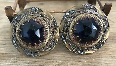 Large Antique Victorian Cut Steel Metal And Faceted Glass Buttons Lot Of 2