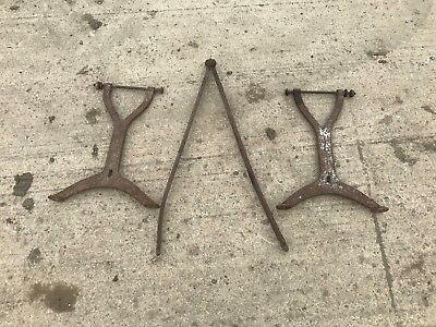 Vintage antique cast iron bench ends with connecting rod - Birmingham ?