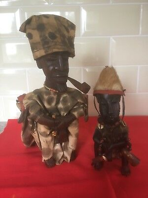 Vintage Wooden  African Tribesmen Smoking Pipes