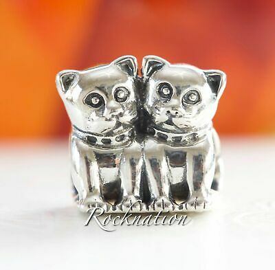 aef7dfb93 AUTHENTIC PANDORA STERLING SILVER BEAD/CHARM 791119 twin cat purrfect  together