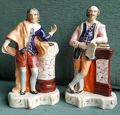 Pair of Staffordshire Flatback Figures of Shakespeare and Milton