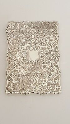 beautiful victorian  solid silver card case 1880