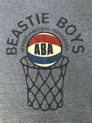 VINTAGE 80s 90s Beastie Boys ABA Music Concert Tour Blue Rare Shirt Mens XL USA