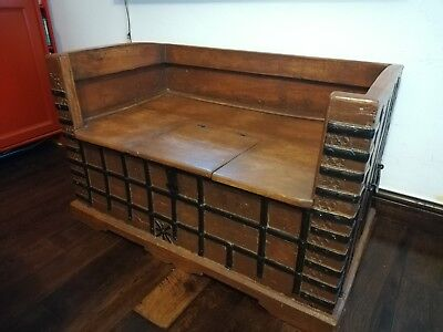Antique 18th century Indian Wooden Dowry Chest Bench / Hope Chest / Trunk / Box