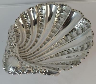 1889 Victorian Solid Silver Shell Shaped Bon Bon or Soap Dish Bowl