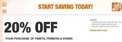 (2)Home Depot 20% Off Coupon Paint stains Primer Exp. 3/1 In store ONLY