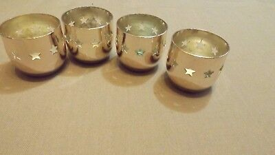 4 Silver Plated Tea Light Holders, Star Design