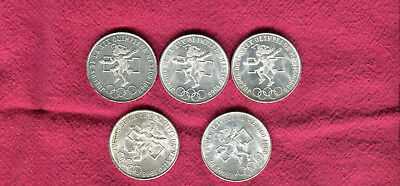5 1968 Silver Mexico 25 Peso Olympic Coins #2