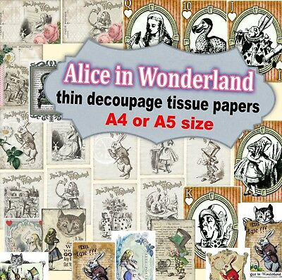 26 designs  Alice in Wonderland very thin decoupage tissue paper -A4 or A5 size