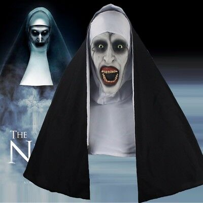 The Nun Full Head Cosplay Horror Movie Mask Valak Conjuring Scary Halloween