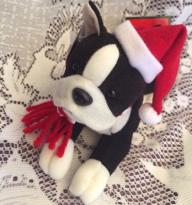 "Vintage Christmas Stuffins Plush Boston Terrier 6 1/2"" L With Tags"