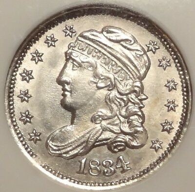 NGC MS64 1834 Capped Bust Half Dime ~ A CHOICE WHITE H10C TYPE COIN