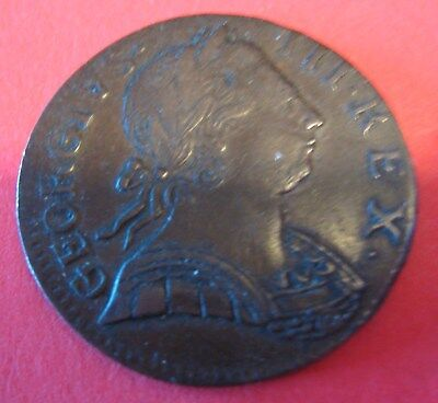 1- Very Rare- 1775 Great Britain, Half Penny, Colonial Coin-VG-Geo. 111-C407