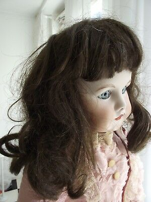 antique Mohair brunette wig for a 25-27 inch doll