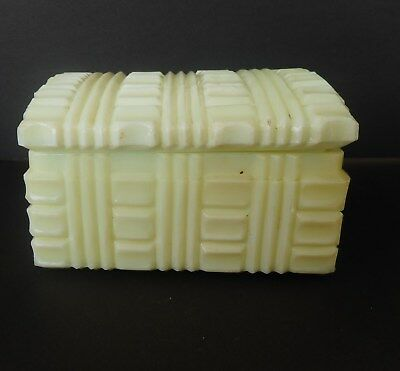 small Akro Agate Ivory Treasure Trunk Powder Box
