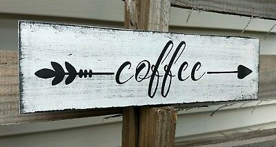 Coffee Bar Arrow Rustic Distressed Wood Sign ENS1001785 Custom Family Last