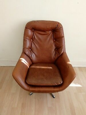 Retro Egg Swivel Armchair - leather armchair vintage retro swivel chair - Brown
