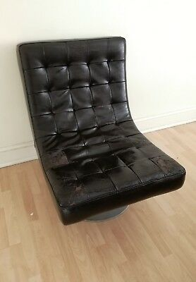 Retro Swivel Armchair - leather armchair vintage retro swivel chair - Black