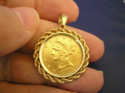 United States 1900 LIBERTY FIVE DOLLAR GOLD COIN $5 with solid 14K rope bezel