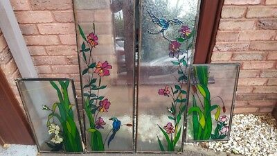 Stained Glass Window Panels 4 Units From Side of Front Door inside Porch