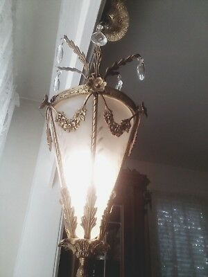 VINTAGE ART DECO Brass  FOYER HALL Crystal HANGING PENDANT LIGHT FIXTURE ANTIQUE