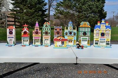 Lot of Dept 56 Monopoly 8 Buildings and City Light Sign