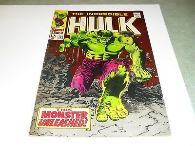 Incredible Hulk #105 (1968) VF/VF- First Missing Link; Rare in this condition!