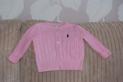 Girls RALPH LAUREN Pink Long sleeve Cardigan - Age 12months - Beautiful condi