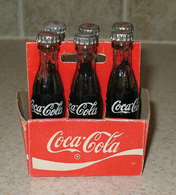 Vintage 6 Pack with Carton Coca Cola Miniature 3 inch Glass Bottle s
