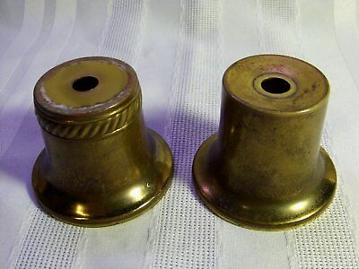 Vintage Lot of 2 Brass Finished Bell Shaped Lamp Light Fixture Spacers or Risers