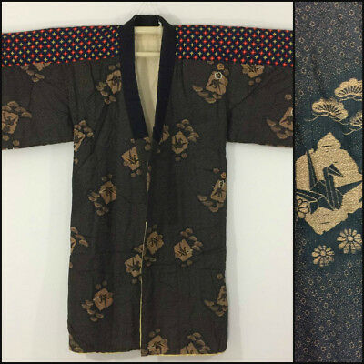 Japanese dotera, house kimono, unisex, short, medium, made in Japan (W2286)