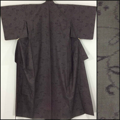 Japanese women's kimono, medium, wool, poor cond., fabric? Japan import(AC2283)